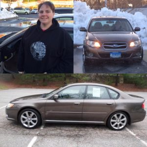 three pictures. 1 of lady wearing black sweatshirt, 1 of front of car, 1 side view of brown car