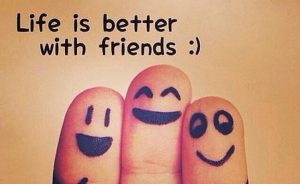"3 fingers with smiling faces and words ""life is better with friends"""