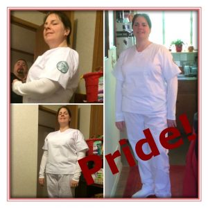 3 pictures of lady standing white scrubs