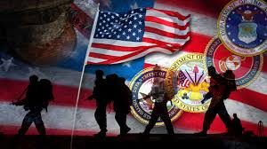 Honoring the armed forces silhouettes with american flag and the seals of each branch of service